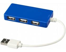 Plastový USB rozbočovač WRIT, se 4 porty - královská modrá