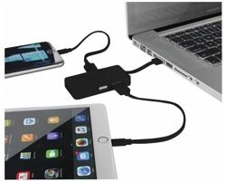 Plastový USB rozbočovač TURIN se 2 USB kabely - černá