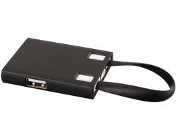 Plastový USB rozbočovač JAN s USB kabelem, 3v1 - černá