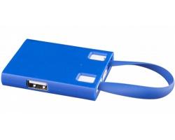 Plastový USB rozbočovač JAN s USB kabelem, 3v1 - královská modrá