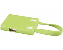 Plastový USB rozbočovač JAN s USB kabelem, 3v1 - jemně zelená