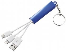 Plastová sada dobíjecích kabelů LEASH, 3 v 1 - královská modrá