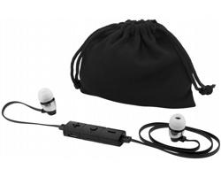 Ergonomická bluetooth sluchátka typu pecky GELOSE s plochým kabelem - černá