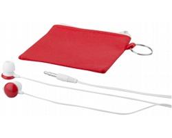 Lehká sluchátka typu pecky SOPHS v netkaném pouzdře na zip - červená / bílá
