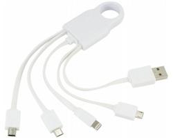 USB nabíjecí kabel FOLKY s 5 konektory - bílá