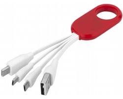 Nabíjecí kabel typu C BIERS se 4 konektory - červená