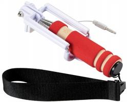 Skládací mini selfie tyč PULE s poutkem - červená