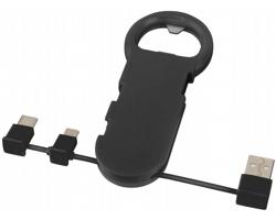 Plastový otvírák lahví DOPER s integrovaným USB kabelem, 3v1 - černá