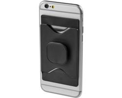 Plastový držák mobilního telefonu WARBLER s peněženkou - černá