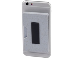 Plastové RFID pouzdro na více karet SETS s pšeničnou slámou - šedá