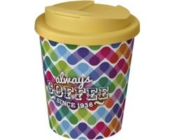 Plastový termohrnek Brite Americano Espresso s uzavíratelným otvorem na pití, 250 ml - bílá/žlutá + plnobarevný potisk celého těla