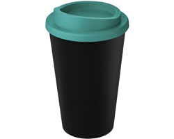 Plastový termohrnek Americano SEAMS z recyklovaného plastu, 350 ml - černá / tyrkysová