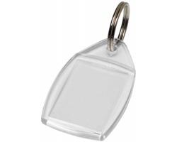 Plastový transparentní přívěsek na klíče LUGES tvaru obdélníku - transparentní čirá