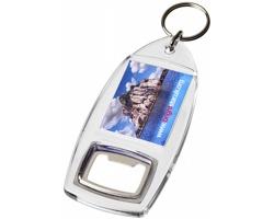 Transparentní plastová klíčenka LOCH s otvírákem lahví - transparentní čirá