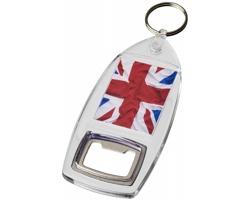 Transparentní plastový přívěsek na klíče DIMLY s otvírákem lahví - transparentní čirá