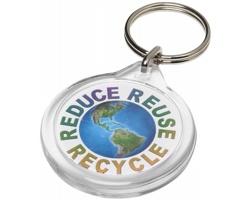 Transparentní plastová klíčenka LAURE kruhového tvaru - transparentní čirá
