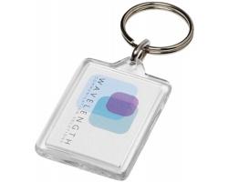 Transparentní plastová klíčenka NUDUM tvaru obdélníku - transparentní čirá