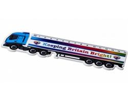 Plastové pravítko MAIN tvaru nákladního auta, délka 15 cm - bílá