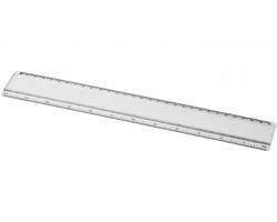 Plastové pravítko SPRINGS s papírovou kartičkou pro potisk, 30 cm - transparentní čirá