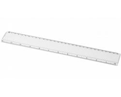 Plastové pravítko SPRINGS s papírovou kartičkou pro potisk, 30 cm - bílá