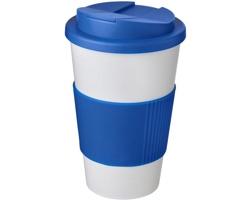 Plastový termohrnek Americano CHORIC s uzavíratelným víčkem, 350 ml - bílá / středně modrá