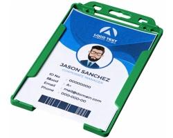 Transparentní plastové pouzdro na ID kartu CATHA - zelená