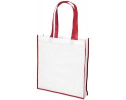 Velká netkaná nákupní taška FEED - bílá / červená