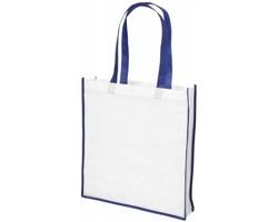 Velká netkaná nákupní taška FEED - bílá / modrá