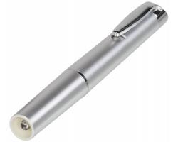 Plastová LED svítilna SWOT tvaru pera - stříbrná