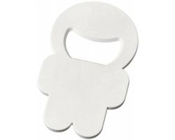 Plastový otvírák lahví MANNI tvaru postavičky - bílá