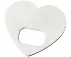 Plastový otvírák lahví MANSE ve tvaru srdce - bílá