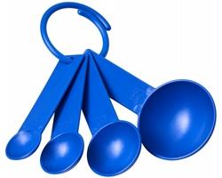 Sada plastových odměrných lžic CYMBA se 4 velikostmi - modrá