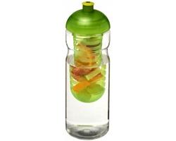 Recyklovaná plastová sportovní lahev MAITRES s infuzérem a kupolovitým víčkem, 650 ml - transparentní / jemně zelená