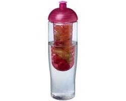 Recyklovaná plastová sportovní lahev ELISSA s infuzérem a kupolovitým víčkem, 700 ml - transparentní / růžová