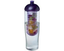 Recyklovaná plastová sportovní lahev ELISSA s infuzérem a kupolovitým víčkem, 700 ml - transparentní / purpurová