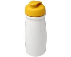 Plastová sportovní lahev ABACK s vyklápěcím víčkem, 600 ml - bílá / žlutá