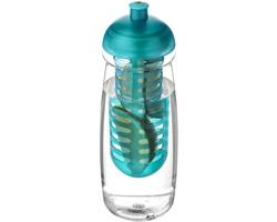 Recyklovaná plastová sportovní lahev DENICE s infuzérem a kupolovitým víčkem, 600 ml - transparentní / tyrkysová
