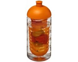 Recyklovaná plastová sportovní lahev LARITA s infuzérem a kupolovitým víčkem, 500 ml - transparentní / oranžová