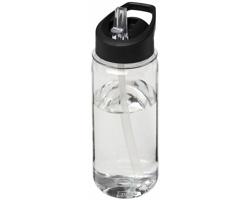 Tritanová sportovní lahev MAHOE s vyklápěcím brčkem, 600 ml - transparentní / černá