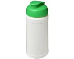 Sportovní lahev PROVE s vyklápěcím víčkem, 500 ml - bílá / zelená