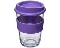 Plastový transparentní hrnek WYNNE se silikonovým páskem, 300 ml - purpurová