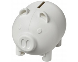 Malá plastová pokladnička KNELT ve tvaru prasátka - bílá