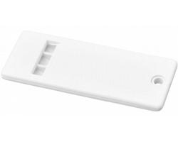 Plochá plastová píšťalka WATS s velkou plochou pro potisk - bílá