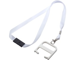 Plastový hygienický klíč s technologií Biomaster SCREE s lanyardem - bílá