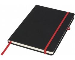 Linkovaný zápisník EASTON s barevnou gumičkou - černá / červená