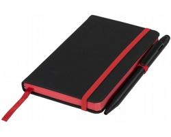 Papírový zápisník AGENCY s plastovým kuličkovým perem - černá / červená