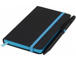 Papírový zápisník AGENCY s plastovým kuličkovým perem - černá / modrá