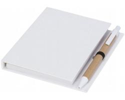 Poznámkový blok EYRA s perem a lepicími bločky - bílá