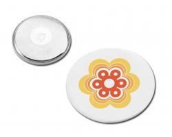 Kulatý magnetický button BUTTON III - bílá
