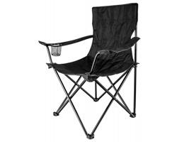 Kempingová skládací židle Beaver THRONE s držákem na pití, nosnost 100 kg - černá